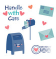 handle with care cute postal mail vector image