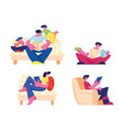 happy family reading hobhome spare time set vector image