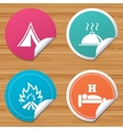 Hot food sleep camping tent and fire signs vector image vector image