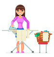 housework electric iron clean laundry clothes vector image vector image