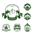 isolated icons of mountain forest camp vector image