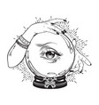 magic crystal ball with eye of providence vector image vector image