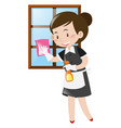 maid cleaning window with cloth vector image