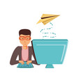 man with desktop computer and airplane paper vector image vector image