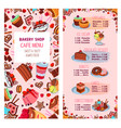 menu template for bakery shop desserts vector image vector image