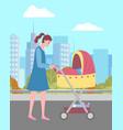 mom walking with pram in city buildings vector image vector image