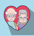 old people inside of heart design vector image