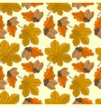 pattern with acorns and chestnut autumn leaves vector image