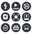 Photo video icons Camera photos and frame vector image vector image