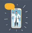 professional doctor on smartphone speech bubble vector image vector image