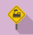 railway road sign icon flat style vector image