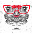 retro hipster animal frog hand drawing muzzle vector image vector image