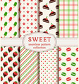 seamless patterns with sweets set vector image vector image