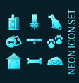 set dog blue glowing neon icons vector image