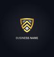 shield safe protect company gold logo vector image vector image