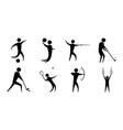 silhouette people sport different activity icons vector image vector image