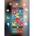 Smart phone display with multimedia icons vector image vector image