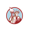 Statue of Liberty Holding Flaming Torch Circle vector image vector image