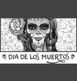 sugar skull lady vector image vector image
