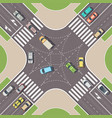 urban crossroad with cars and pedestrian paths vector image