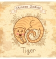 Vintage card with Chinese zodiac Tiger vector image vector image