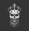 vintage king skull in royal crown vector image vector image