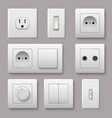 wall switch power electrical socket electricity vector image