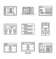 web development and wireframes line icons set vector image vector image
