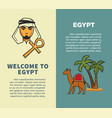 welcome to egypt vertical posters with bedouin and vector image
