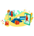 woman shopping online in fashion clothes store vector image vector image