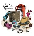 Womens accessories from open gift box vector image vector image