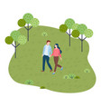 young couple walks in park holding hands walking vector image vector image