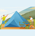 young people set up tents and prepare food flat vector image vector image