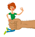 hand holds scared woman vector image