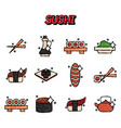 sushi cartoon concept icons vector image