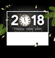 2018 new year card with clock vector image vector image