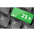 21 plus button on computer keyboard keys Keyboard vector image