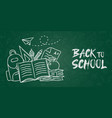 back to school chalk backpack banner green board vector image vector image