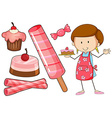 baker and different kind dessert vector image vector image