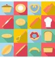 bakery products icons set flat style