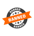 banned sign banned orange-black round ribbon vector image vector image