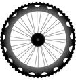 bike wheel black silhouette vector image vector image