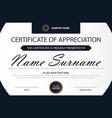 black elegance horizontal certificate with vector image vector image