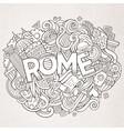 cartoon cute doodles hand drawn rome inscription vector image vector image