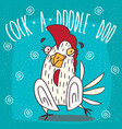 cartoon stupid white cock or rooster vector image vector image