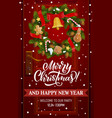 christmas wreath with xmas bell house door decor vector image vector image