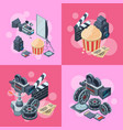 cinematograph isometric elements vector image vector image