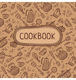 cookbook with kitchen items vector image