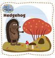 cute cartoon hedgehog on background landscape vector image