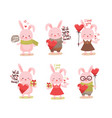 cute cartoon lovely pink rabbit collection vector image